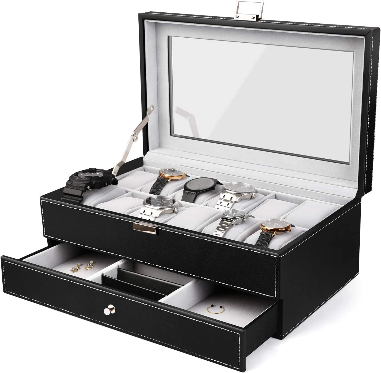 amzdeal – joyero caja relojes reloj caja piel Cristal: Amazon.es ...