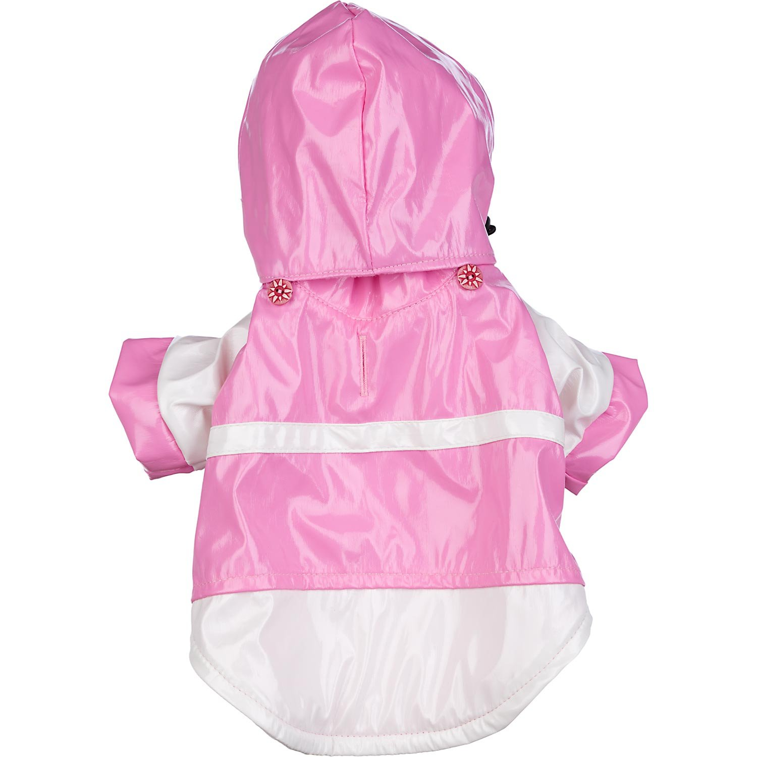 Two Tone Dog Raincoat with Removable Hood in Pink and White Size: Small (10'' L)