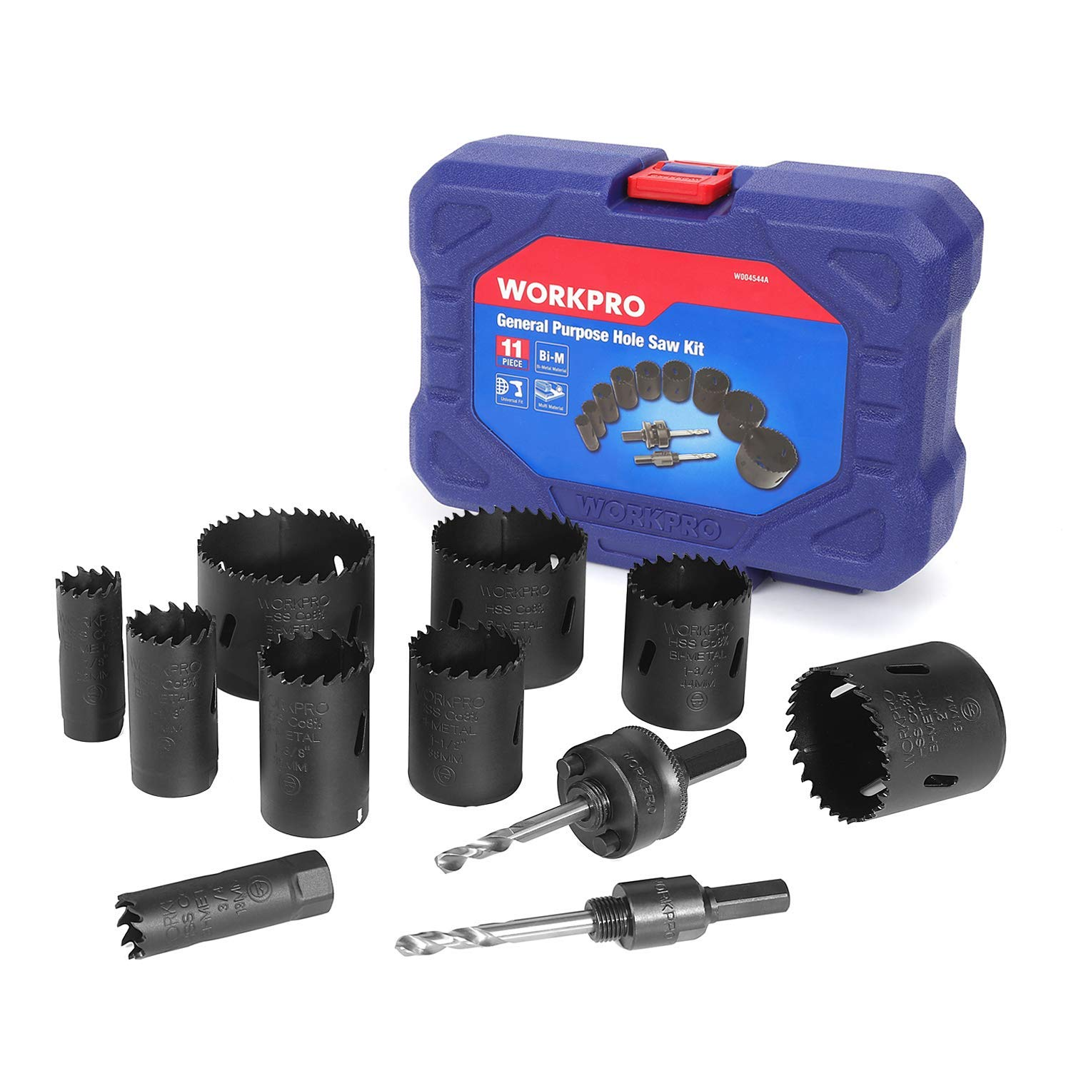 WORKPRO Hole Saw Kit, 11 Piece, Bi-Metal Hole Drills, High Speed Steel M42 Drill Hole Cutter with Mandrels in Hard Case for Cutting Stainless Steel, Brass, Aluminum, Steel and Wood by WORKPRO