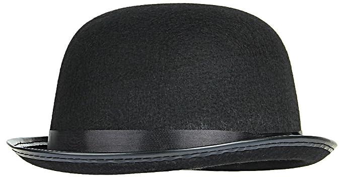 67fa8e1517d Image Unavailable. Image not available for. Color  Gemvie Men Women Black Felt  Bowler Derby Hat Magician Fancy Dress Hat