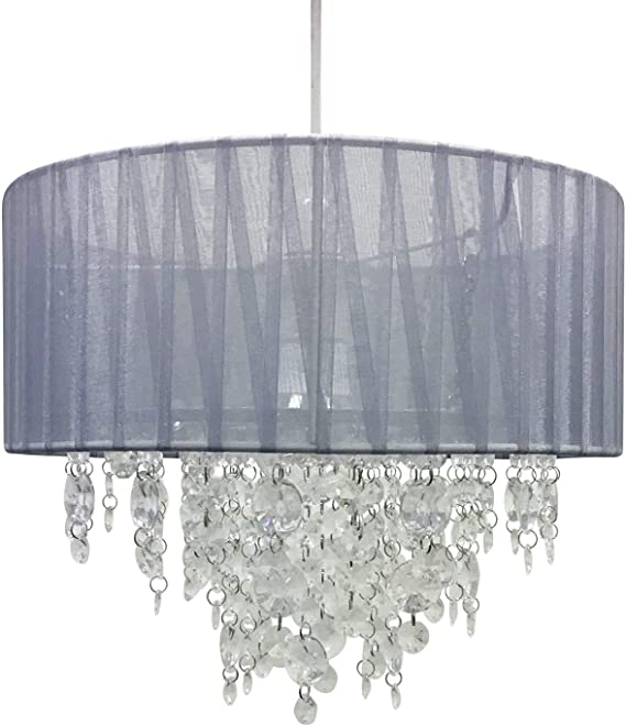 Pair of White 30cm Ceiling Light Shades, Grey Organza Ribbon Chandelier Lampshades, Modern Chrome Jewels Design, Easy Fit No Wiring Required, Modern