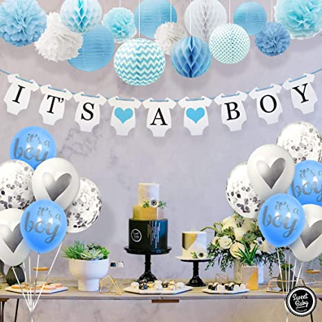 Amazoncom Sweet Baby Co Baby Shower Decorations For Boy With Its