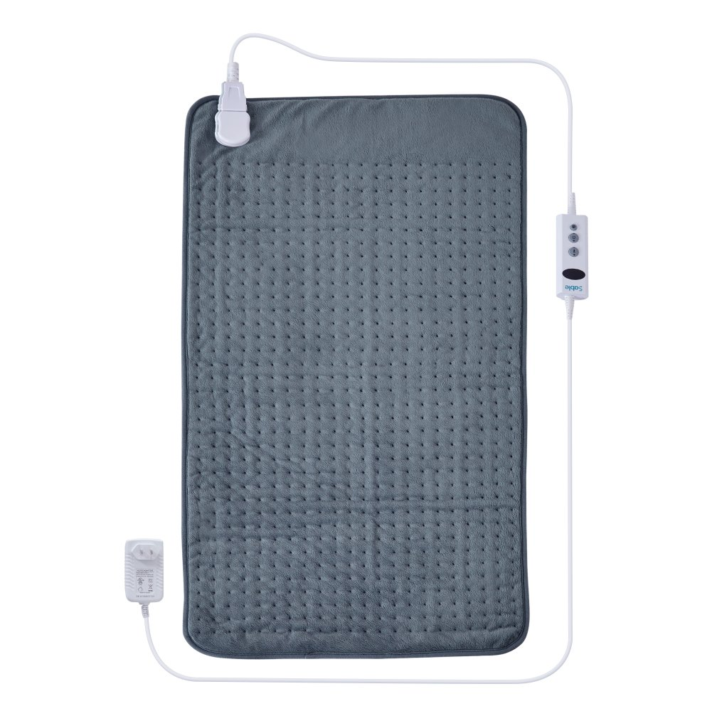 XXX-Large Heating Pad with Auto Off, Safe Low Voltage Technology & Oeko-Tex 100 Certified, 10 Electric Temperature Settings, Super Soft Micro Plush, Moist Therapeutic Option, Pain Relief, Light Gray