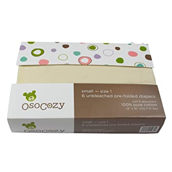premium - Size 2 Osocozy Unbleached Prefold Cloth Diapers 6 Pack 15-30 Lbs