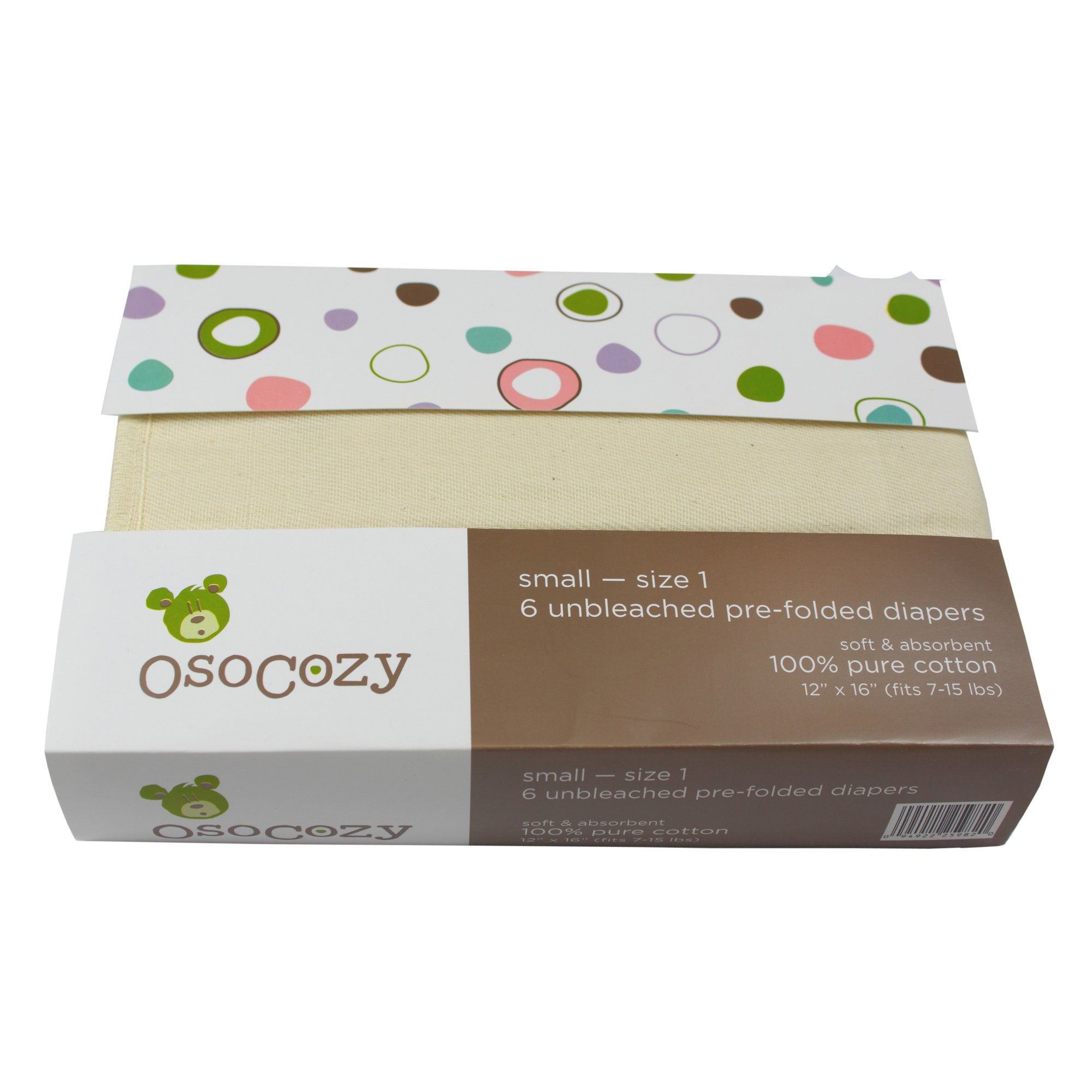 OsoCozy - Prefolds Unbleached Cloth Diapers, Size 1(7-15lbs), 6 Pack - Soft, Absorbent and Durable 100% Indian Cotton Natural Infant Diapers - Highest Quality & Best-Selling Cloth Diapers Sold Online