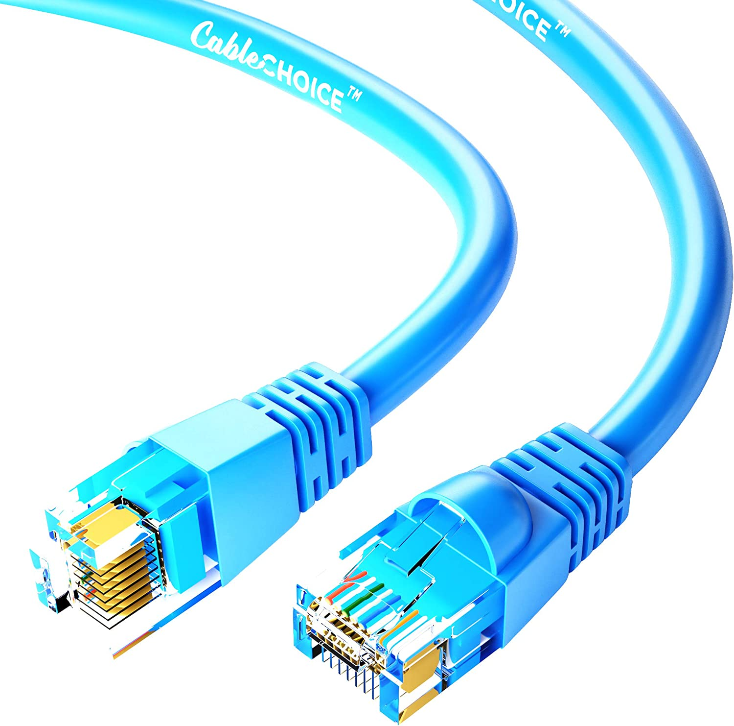 UTP Available in 28 Lengths and 10 Colors Computer Network Cable with Snagless Connector RJ45 10Gbps High Speed LAN Internet Patch Cord 7 Feet - Blue Cat5e Ethernet Cable CABLECHOICE 5-Pack
