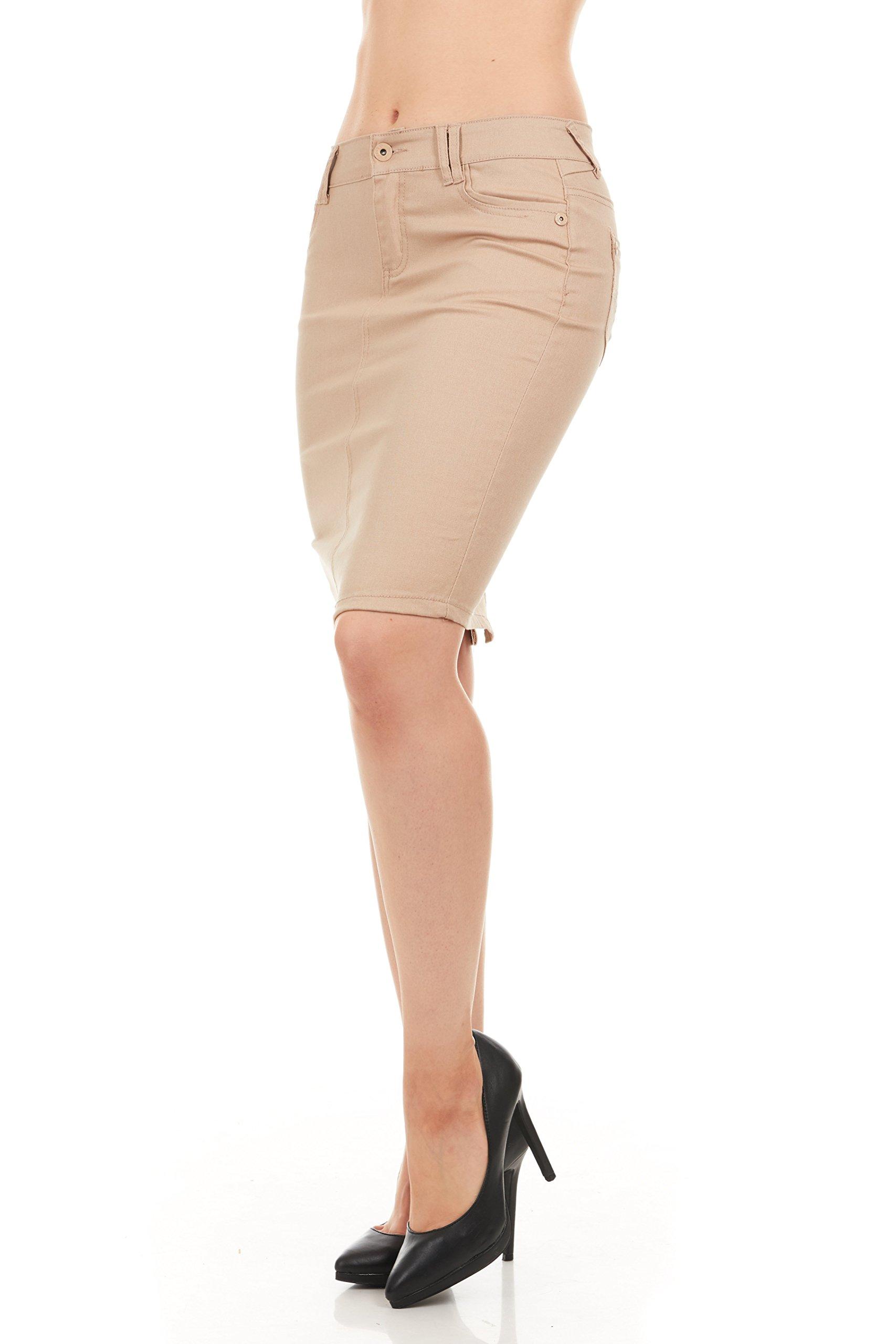 FGR Girl's Stertchy Cotton 5 Pocket Color Denim Skirt Khaki Size 12 by FGR (Image #6)