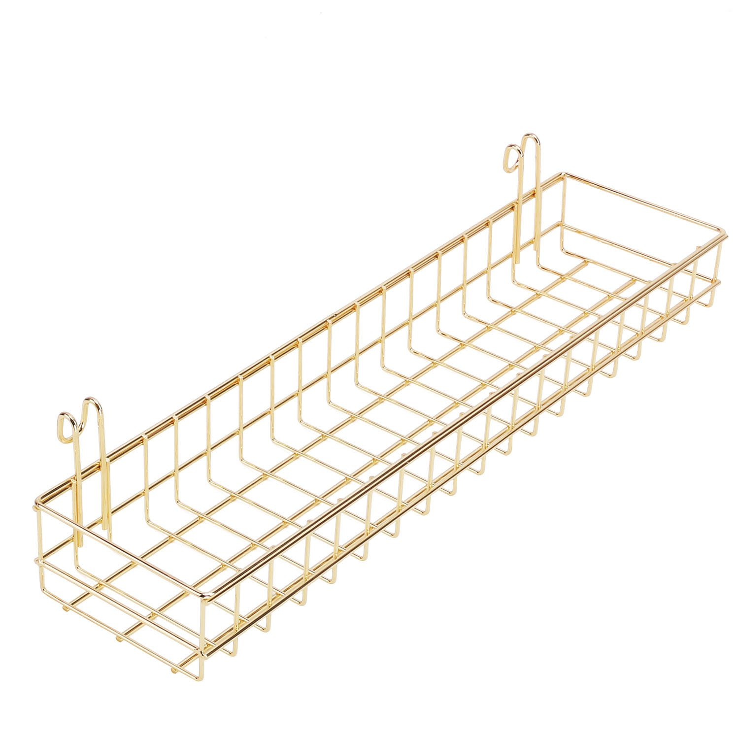 Simmer Stone Gold Hanging Basket for Wire Wall Grid Panel, Multi-functional Wall Storage Display Decoration Basket, Size 15.7'' x 3.9'' x 2''
