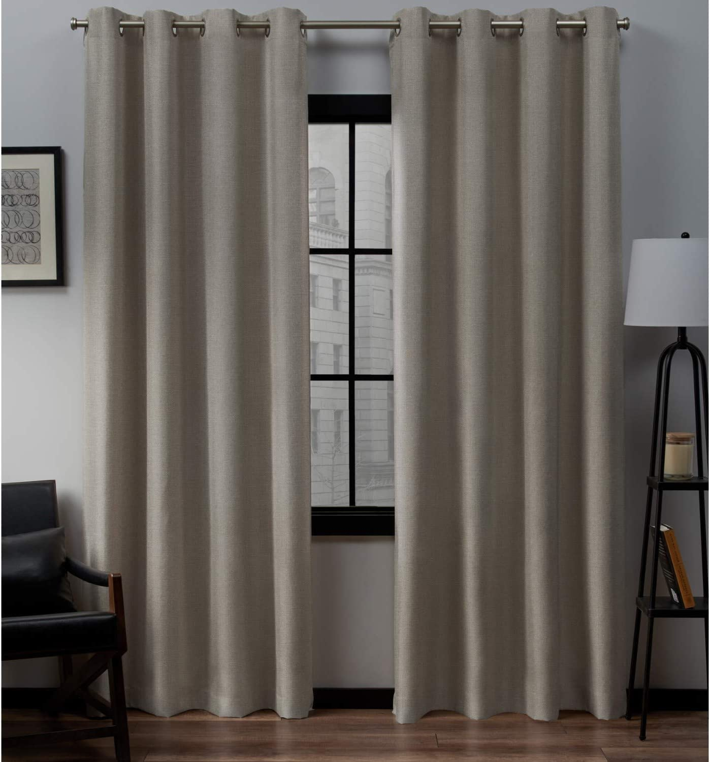 Exclusive Home Curtains Loha Linen Grommet Top Curtain Panel Pair, 52x96, Beige