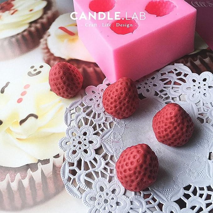 3d fresa molde de silicona - moldfun fresa molde para Fondant, pasta de goma, Chocolate, Candy, Cubito de hielo, Jello, arcilla polimérica, ...