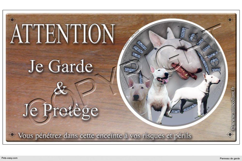 Panneau chien ou plaque Bull-Terrier-Blanc 20 cm COGESCO sarl