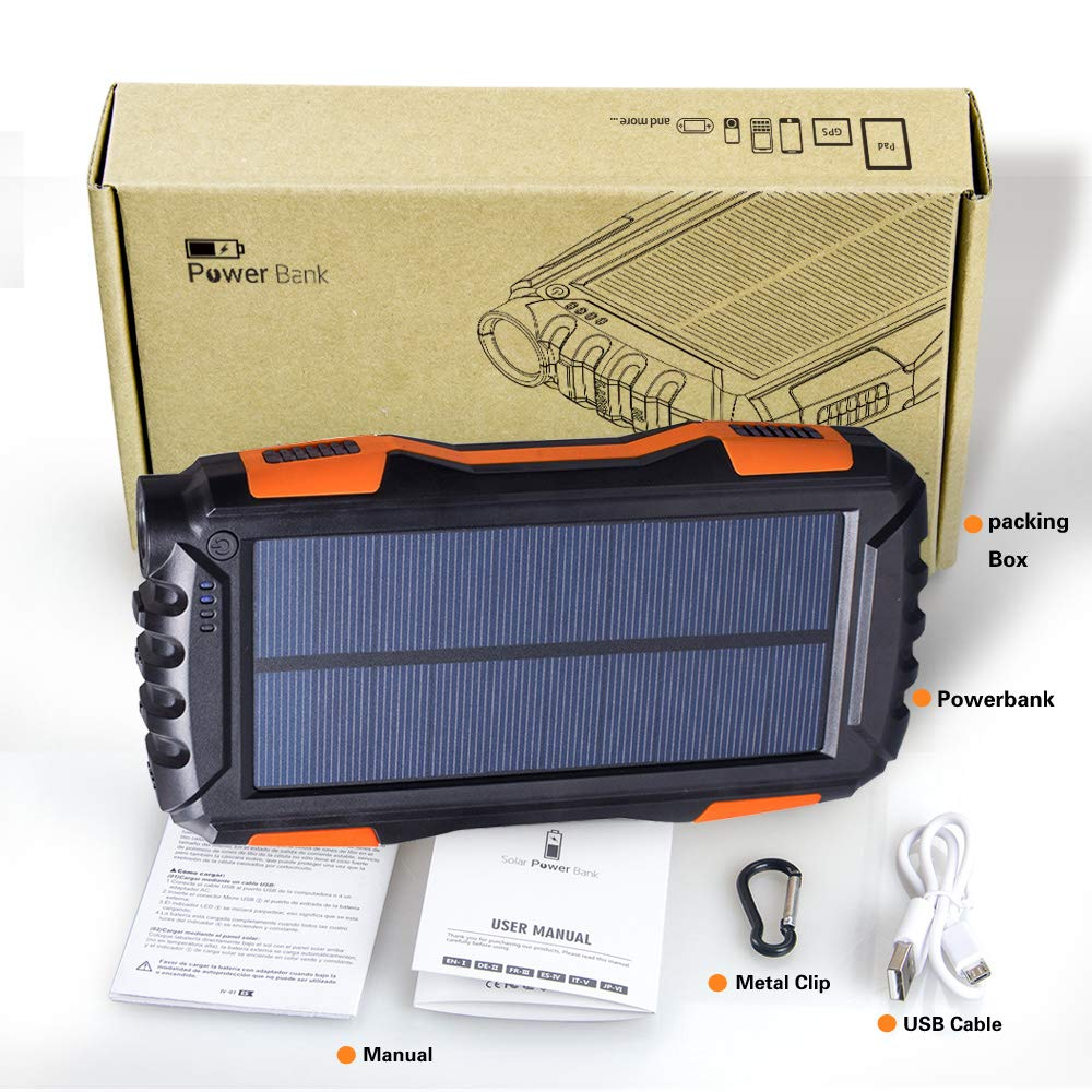 Android Cellphones and More iPad Outdoor Solar Phone Battery Charger with LED Flashlight for iPhone Friengood Solar Charger 25000mAh Portable Solar Power Bank with Dual USB Port Black