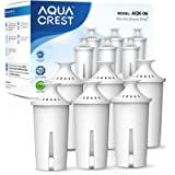 AQUA CREST Pitcher Water Filter, Replacement for Brita Filters, Pitchers, Dispensers (Pack of 6)