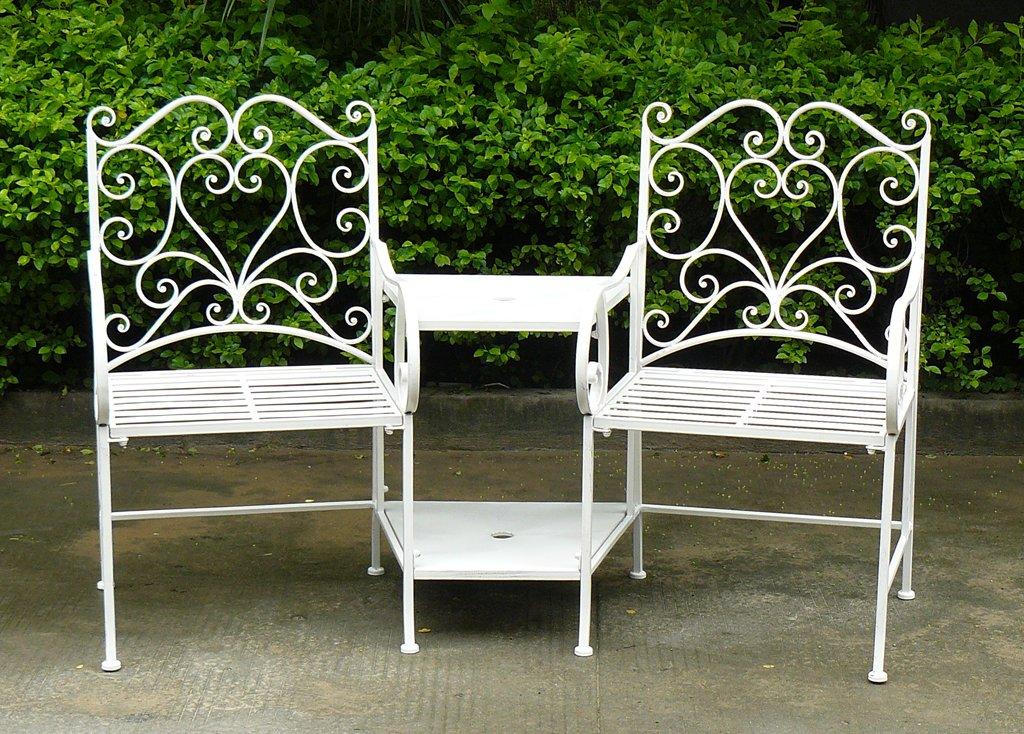 Bentley Garden - Sitzgruppe aus Schmiedeeisen - Gartenmöbel - Romantische Herz-Ornamente - Weiß