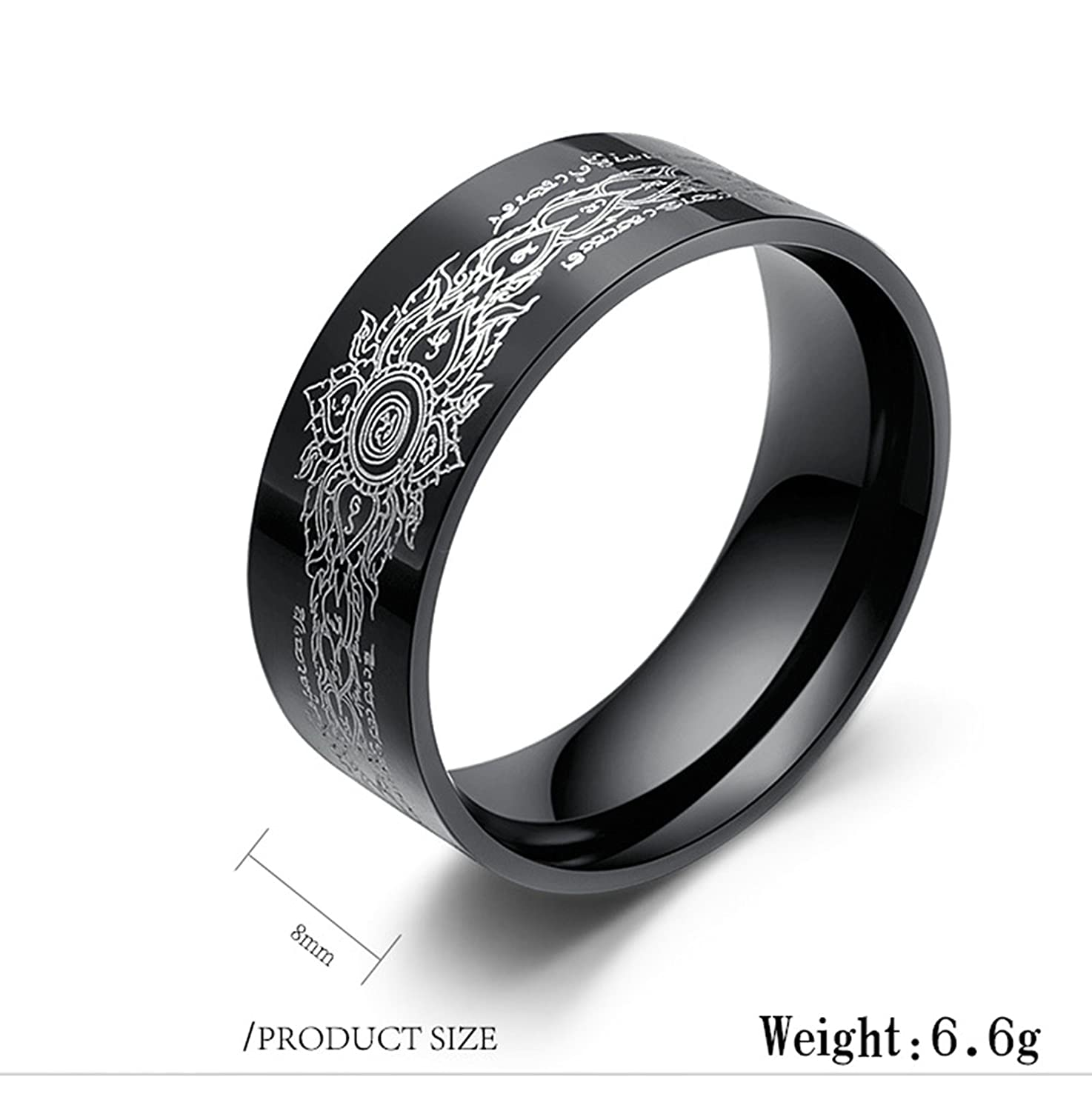 Bishilin Stainless Steel Rings Wedding Buddhism Religious Wedding Rings Black Size 10