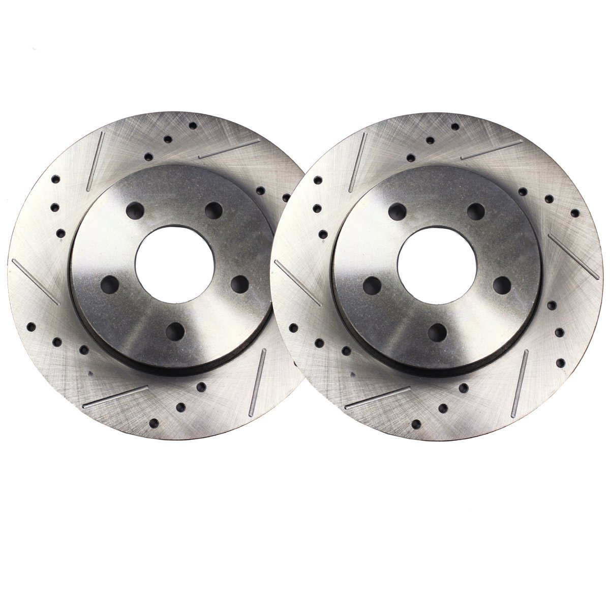 Detroit Axle - 11.92' (303mm) 5 Lug FRONT Drilled and Slotted Brake Rotors for GM Models - Check Fitment Chart