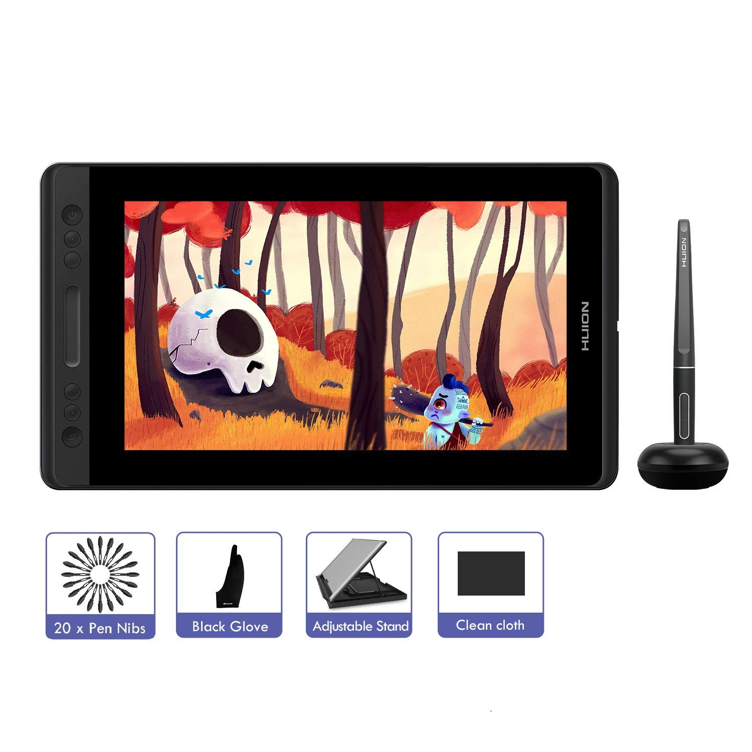 GT-133 HUION KAMVAS Pro 13 Drawing Tablet 8192 Pressure Sensitivity,Tilt Function Battery-Free Stylus Digital Drawing Monitor for Windows Mac 13.3inch Graphics Tablet with Screen