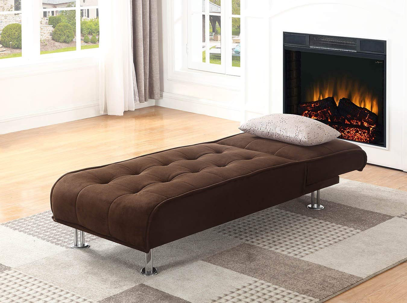 Ellwood Chaise Sofa Bed Brown by Coaster Home Furnishings