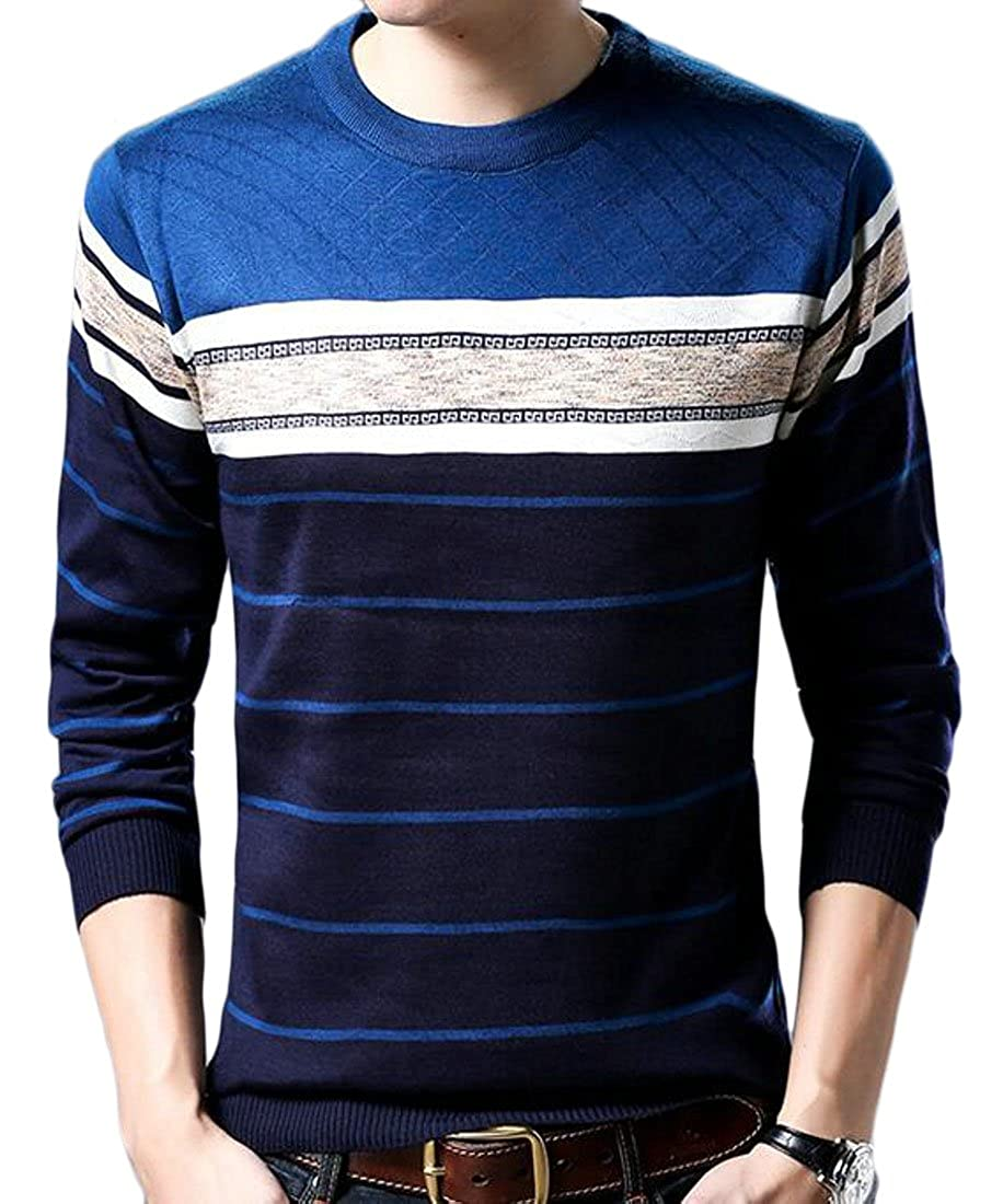 ONTBYB Mens Autumn Winter Casual Thicken Color Block Sweater Pullover