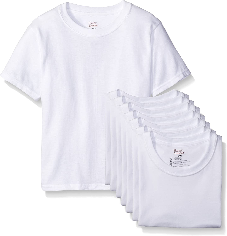Hanes Big Boys 8-Pack Classics Crew Undershirt
