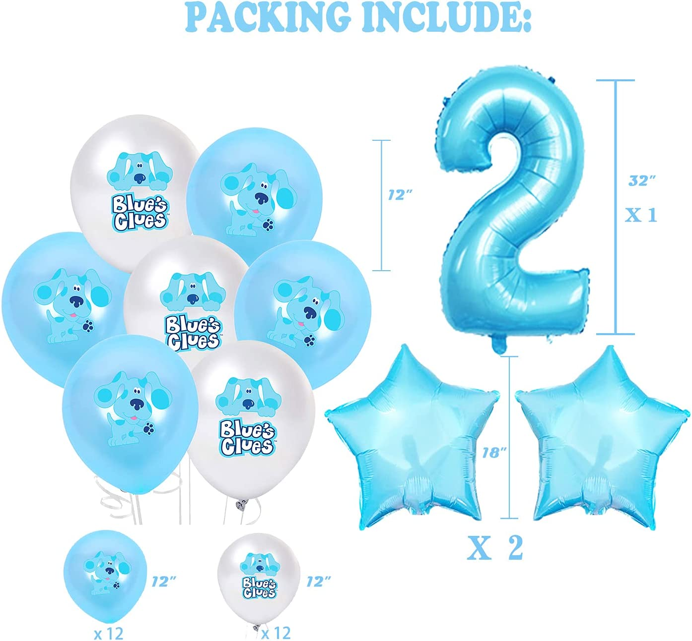 Blue Clue 2nd Birthday Party Balloons 20pcs Blue clues latex ballons with number 2 balloons,blue clue party decorations,blue clue party supplies