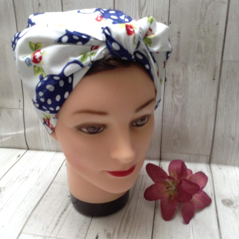 Blue teapot vintage style headscarf, chemo hair loss head cover