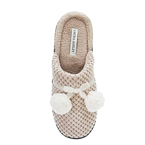 3f4c9bb55af50 Laura Ashley Womens Textured Scuff with Poms Slippers (See Colors and Sizes)