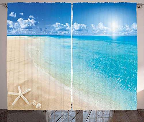 Ambesonne Beach Curtains, Sunny Summer Seashore with Clear Sky Seashells Starfish Clouds Aquatic Picture, Living Room Bedroom Window Drapes 2 Panel Set, 108 X 63 , Cream Blue