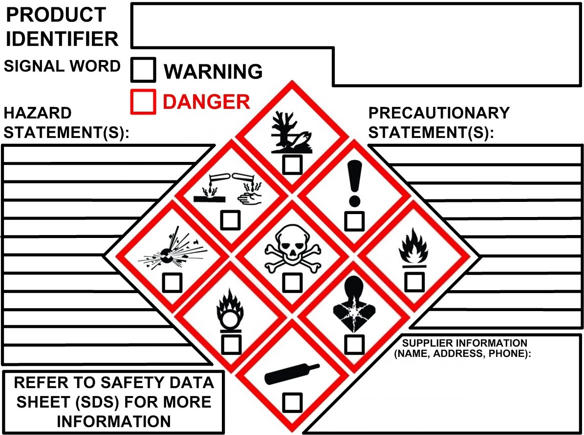 NEW GHS Label OSHA Chemical Secondary Label 4''x3'' (200/Pack)