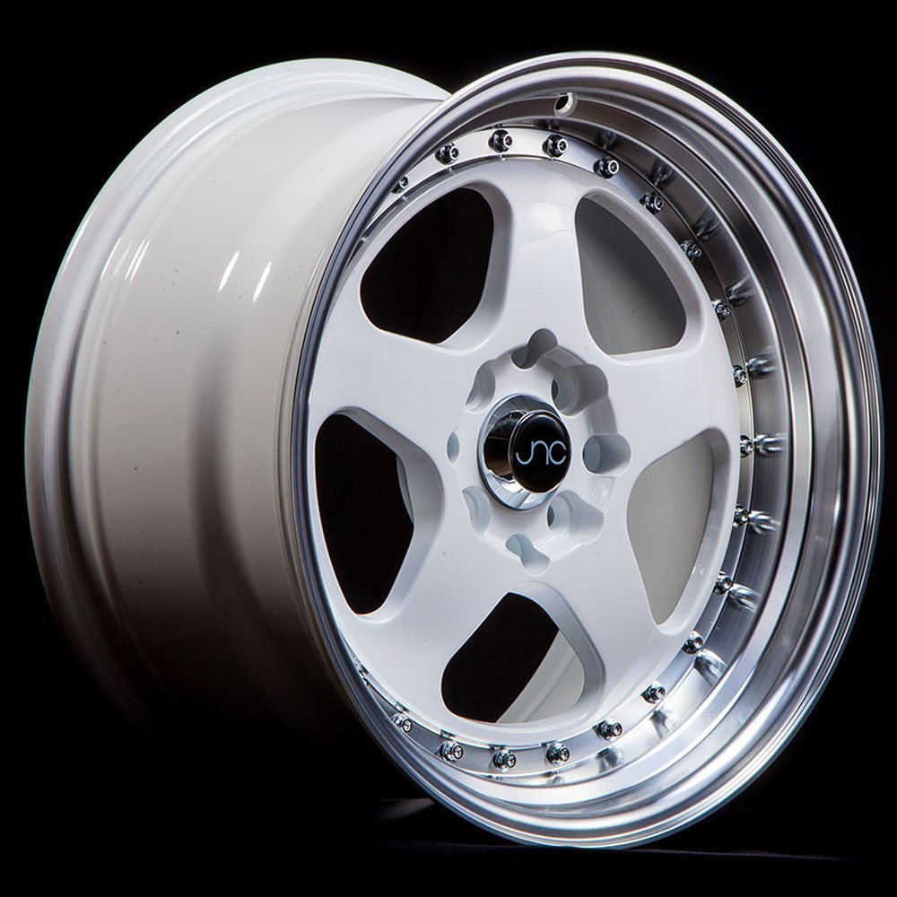 15 JNC010 White Machined Lip Rim 4x100//4x114.3-15x8 inch JNC Wheels
