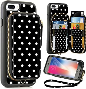 ZVE Wallet Case for Apple iPhone 8 Plus and iPhone 7 Plus, 5.5 inch, Zipper Wallet Case with Credit Card Holder Slot Handbag Purse Print Case for Apple iPhone 8/7 Plus 5.5 inch - Polka Dots