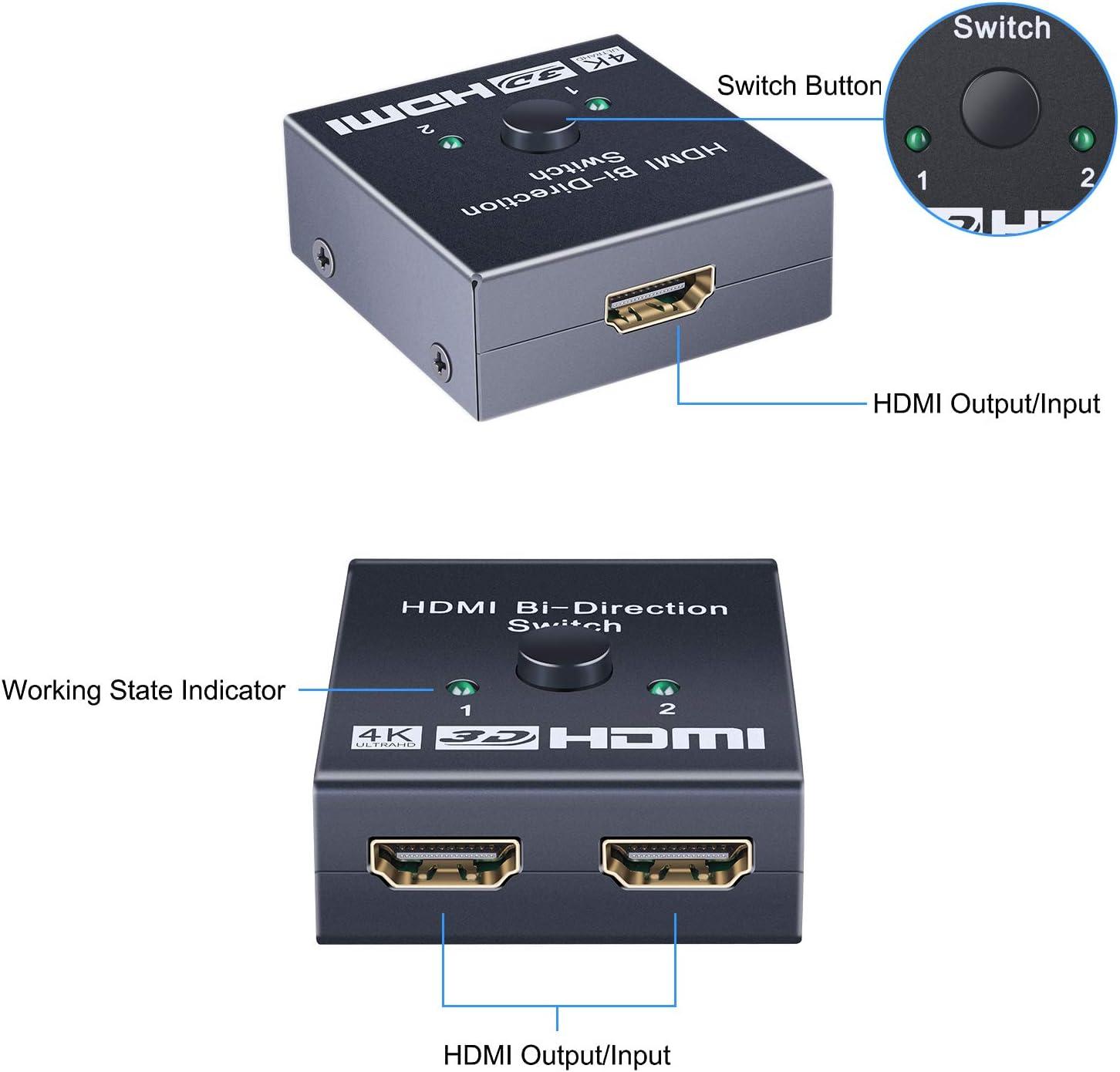 HDMI Switch 4K HDMI Splitter Fire Stick Supports 4K/3D/1080/HDCP ...