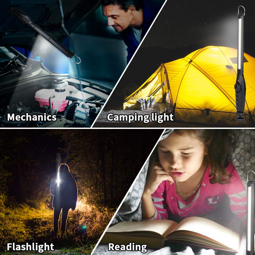 USB Rechargeable COB LED Slim Spotlight Adjustable Brightness Flashlight with Magnetic Plate and Handing Hook for Camping Hiking Fishing Emergency Car Repairing E-More Work Light Inspection Lamp