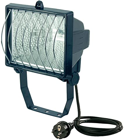 Au/ßenstrahler IP54 gepr/üft, Kabell/änge 2m, 400 Watt stabiles Flutlicht ideal als Baustrahler Brennenstuhl Halogenstrahler mit Stativ Farbe schwarz