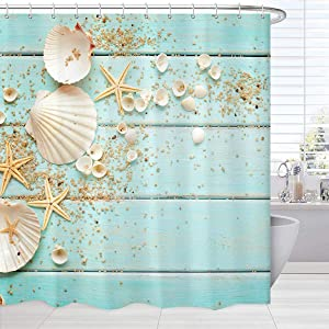 Beach Curtains Shower Decor, Sea Shells Starfish on Teal Wooden Board Beach Bath Shower Curtain Waterproof, Turquoise Fabric Bathroom Accessories Set with Hooks, 72 x 72