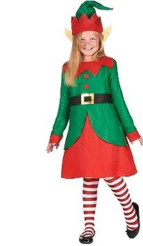 Generique - Disfraz Vestido Duende de Papá Noel niña 10-12 años ...