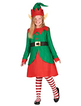 Generique - Disfraz Vestido Duende de Papá Noel niña 4-6 años (104 ...