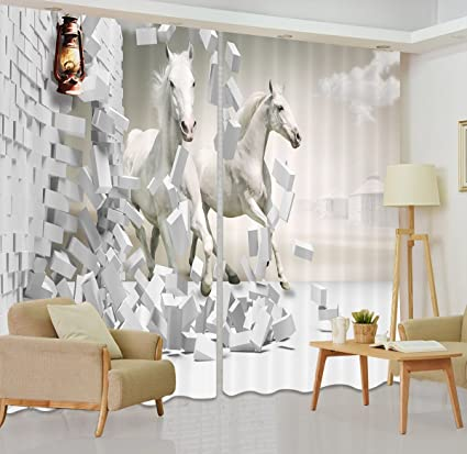LB Horse Window Curtains for Bedroom Living Room,White Horses Broke Through  the Wall Room Darkening Thermal Insulated 3D Blackout Curtains Drapes 2 ...