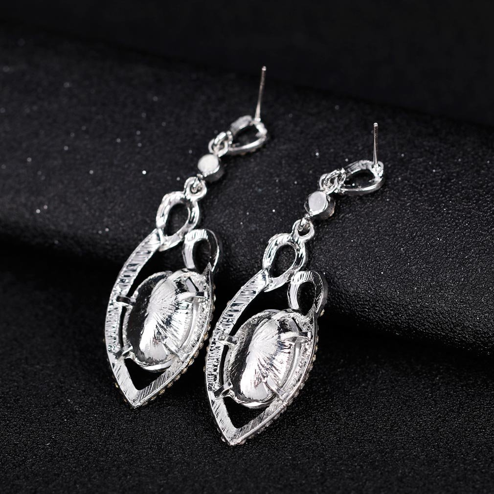 YAZILIND Oval cut cubic zirconia drop dangle earrings white topaz rhinestone luxurious elegant platinum plated studs
