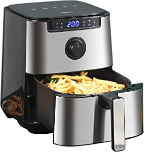 ASA Stainless Steel Air Fryer, 6 Quart Electric Hot Air Fryers Oven with Digital Screen, Oil-less Cooker for Roasting/Baking/Grilling, Dehydrator for Chicken and Pizza, Non-Stick Basket, ETL Certified, User Manual