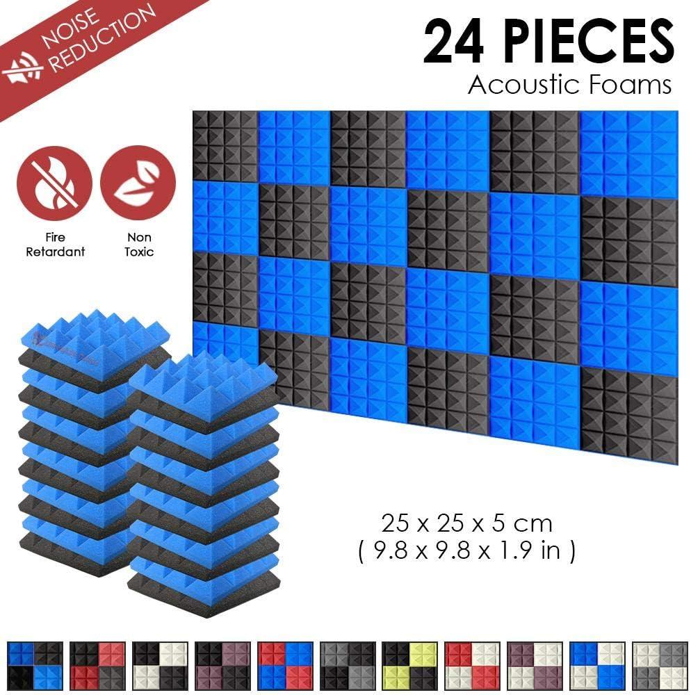 Super Dash 24 Unidades de 25 X 25 X 5cm Insonorizacion Pirámide Espuma Absorcion Aislamiento Acustica Paneles Tratamiento Conjunto SD1034 (Negro & Azul)