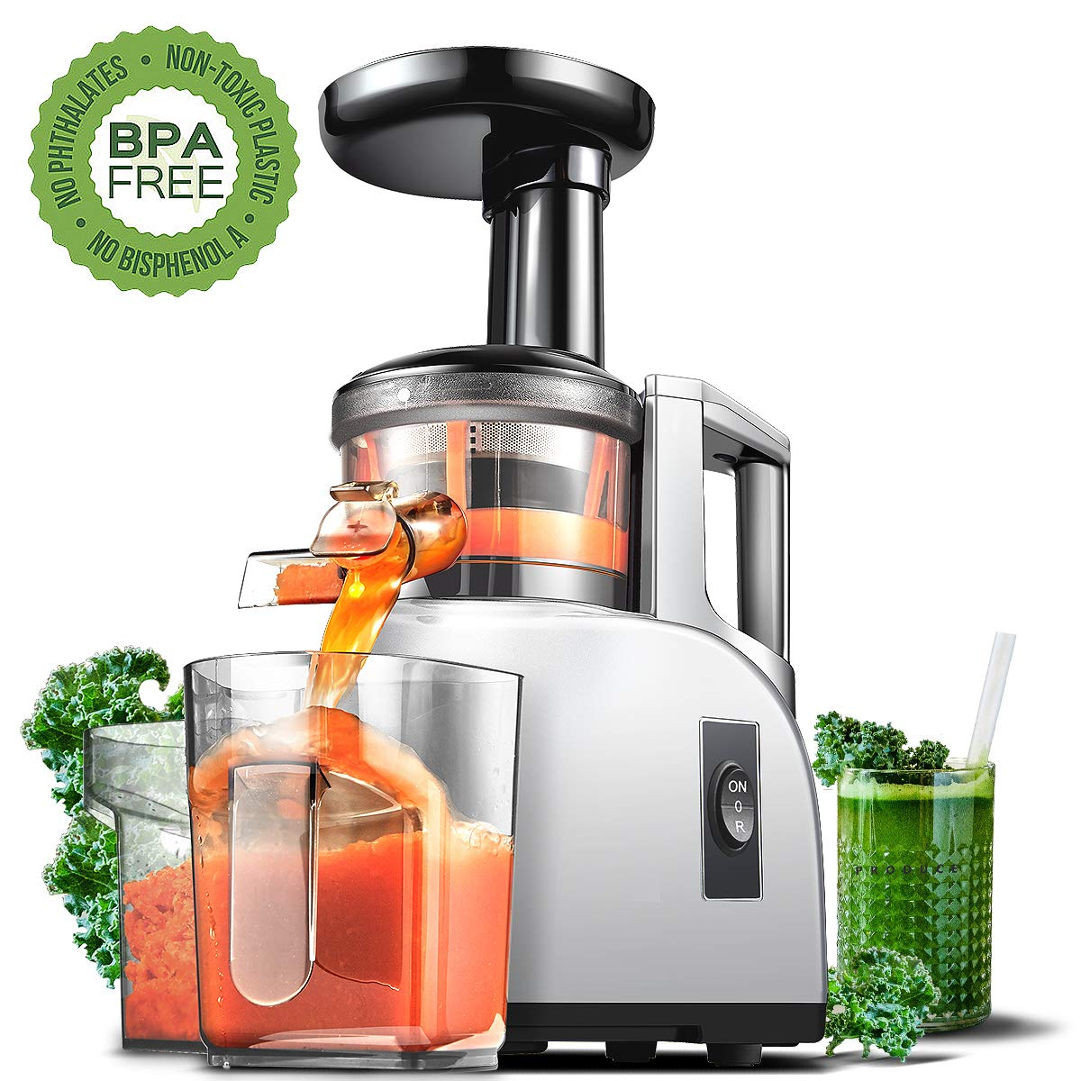 Slow Juicer AMZCHEF Slow Masticating Juicer Extractor Slow Cold Press Juicer Machine Quiet Motor Reverse Function Portable Handle Brush Vegetable Fruit Juice Jugs BPA Free 55RPM