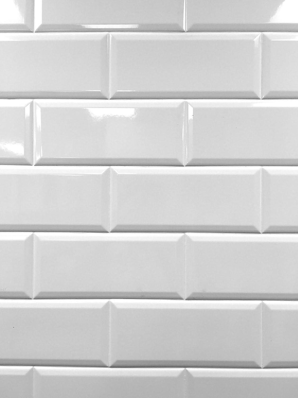 - 4x10 White Glossy Finish Beveled Ceramic Subway Tile Shower Walls