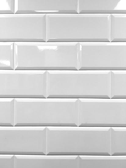 4x10 White Glossy Finish Beveled Ceramic Subway Tile Shower Walls Backsplashes 5 Piece Pack