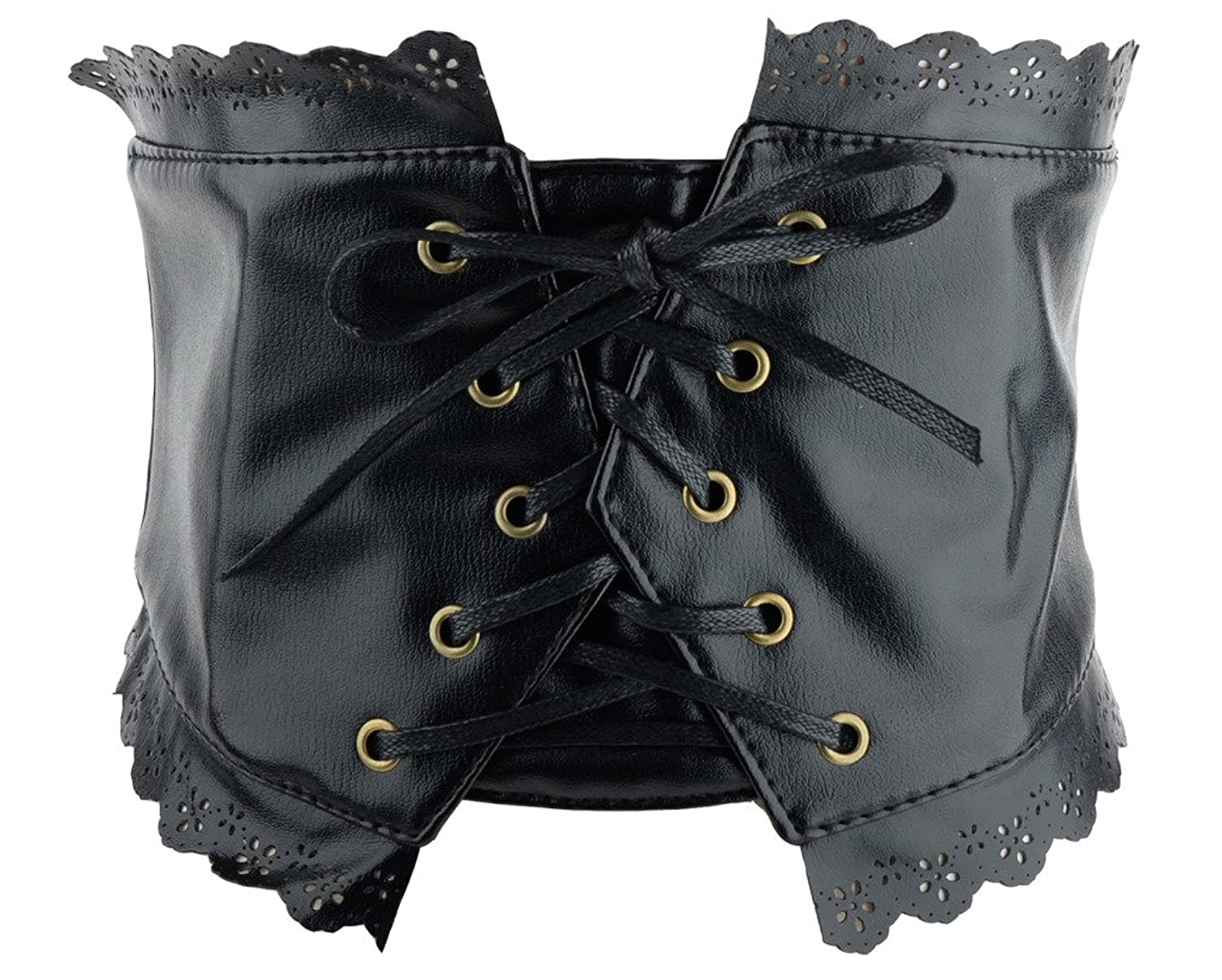 Fashion Womens Black Hollow Out Lace Wide Elastic Rope Waist Belt Corset