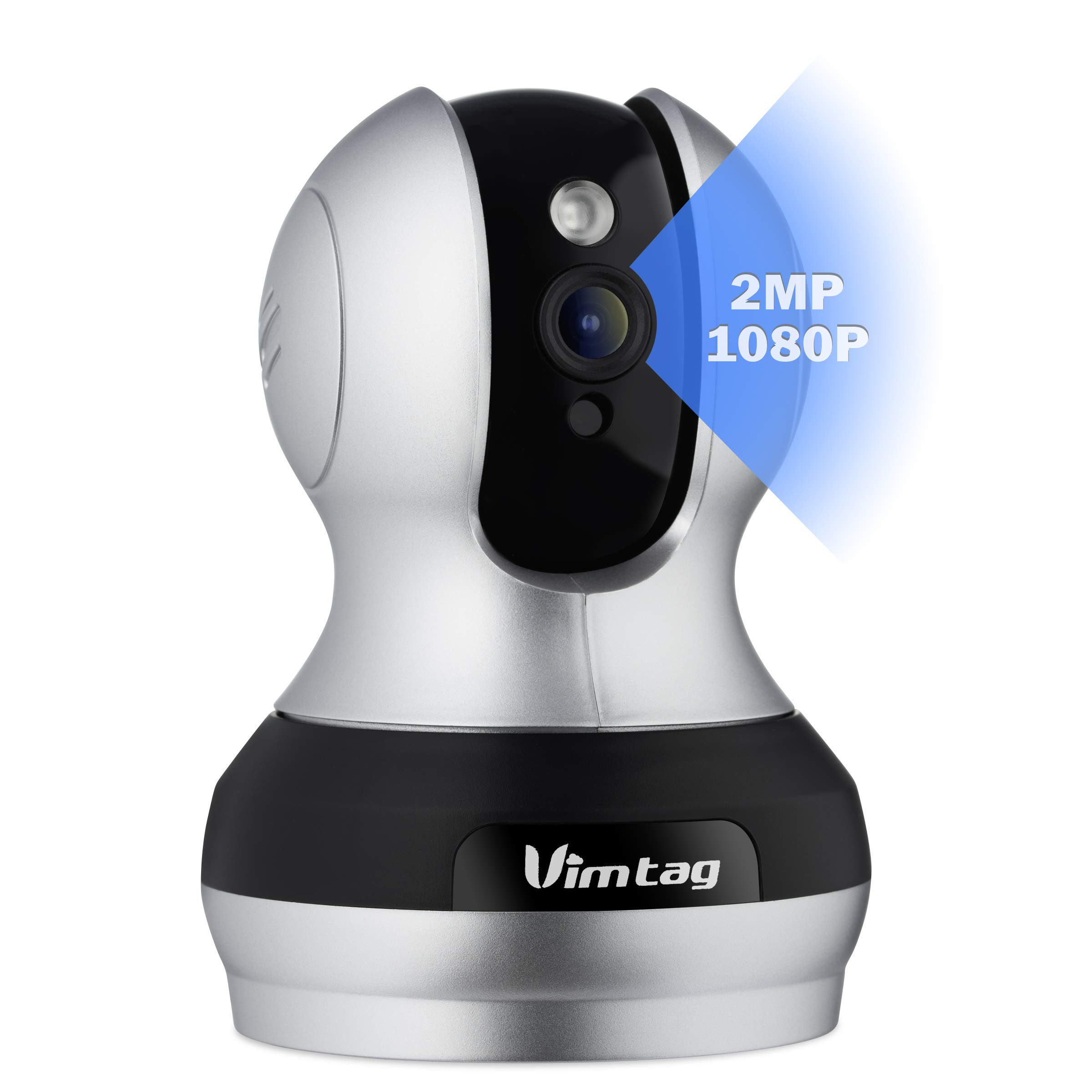 Vimtag VT-361 Super HD 2MP WiFi Video Monitoring Surveillance Security Camera, Plug/Play, Pan/Tilt with Two-Way Audio & Night Vision 1080P Supports Alexa by VIMTAG