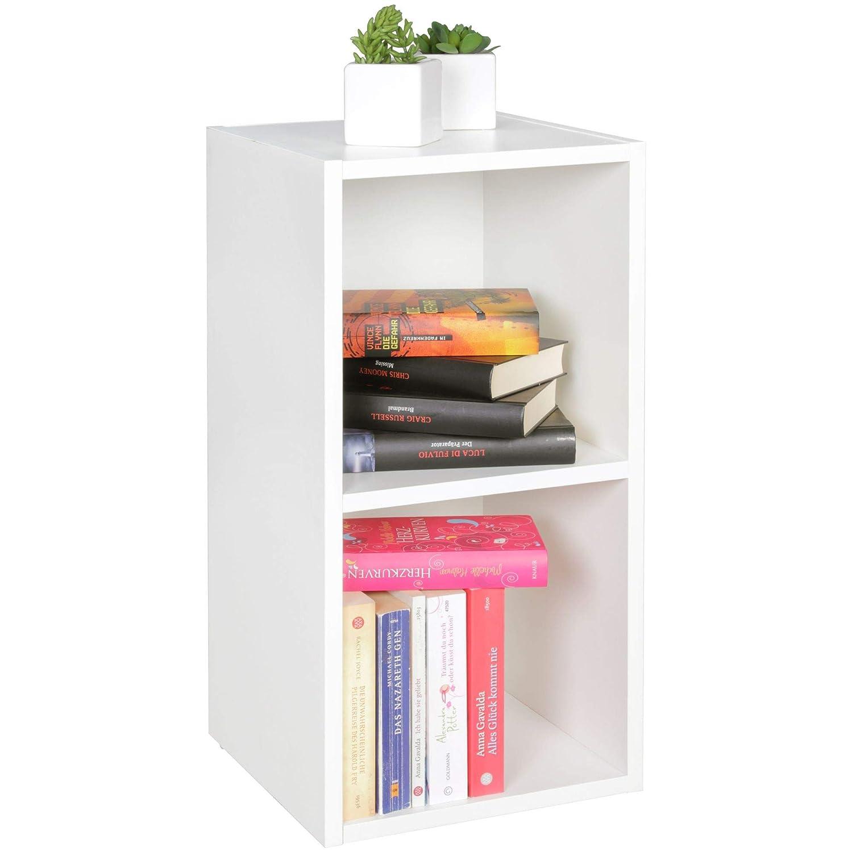 Standregal Lara weiß für Bücher 2 Fächer MDF-Holz Design Aufbewahrungsregal Modernes Flur-Holzregal Kleines Regal offen HxB:60x30cm Weiß