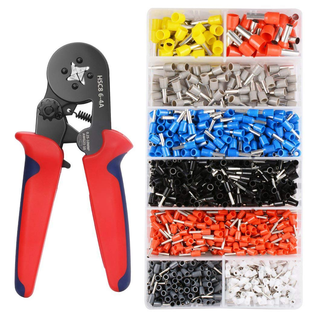 Crimper Plier Set 0.25-10Mm2 Self-Adjustable Ratchat Wire Crimping Tool With 1200 Wire Terminal Crimp Connector Insulated