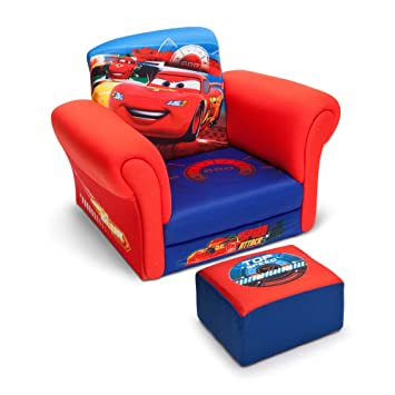 Nice Disney Pixar Lightning Mcqueen Cars Club Kids Chair With Ottoman Set In   Blue/Red