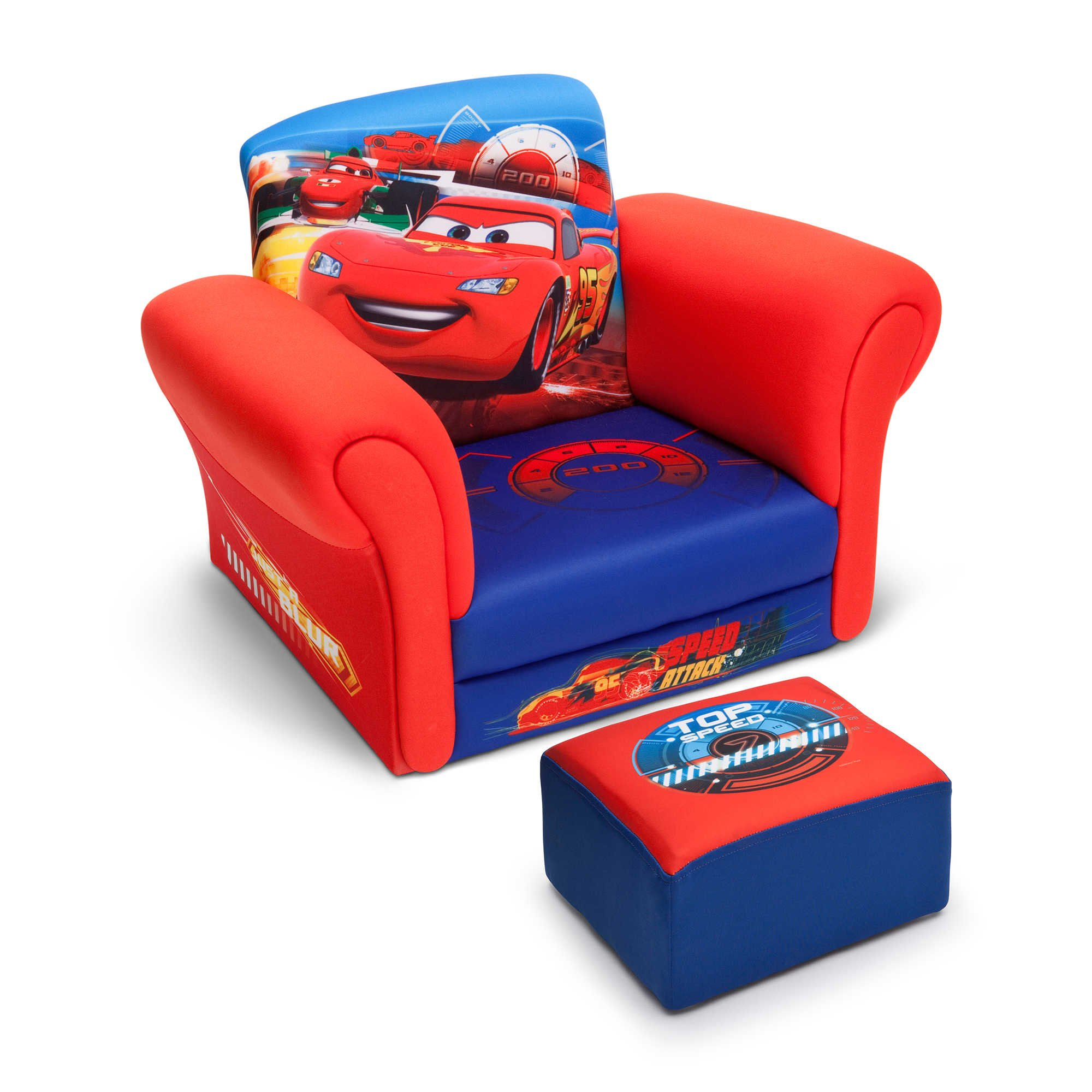 Disney Pixar Lightning Mcqueen Cars Club Kids Chair with Ottoman Set in- Blue/Red